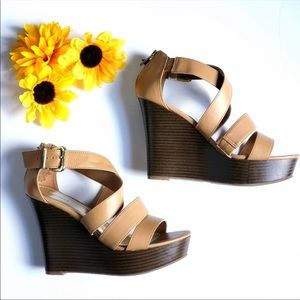 Express sz 7 Strappy Wedge Heels! Worn Once!